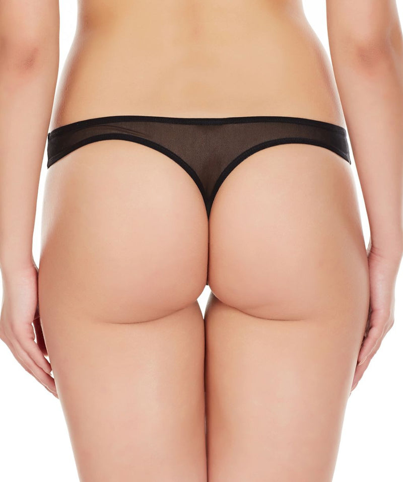 La Intimo Black Women Regular Nylon Spandex Thong