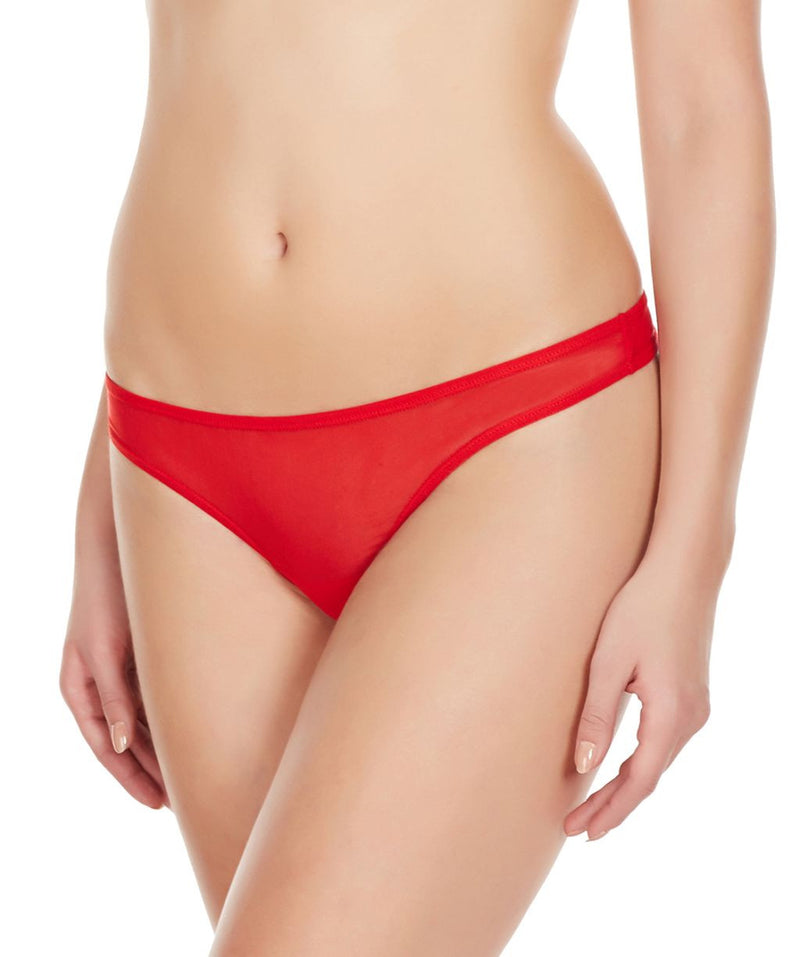 La Intimo Red Women Mesh Net Thong Nylon Spandex Thong