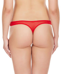 La Intimo Red Women Regular Nylon Spandex Thong