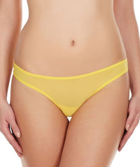 La Intimo Yellow Women Fine Mesh Comfy Thong Nylon Spandex Thong