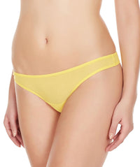 La Intimo Yellow Women Mesh Net Thong Nylon Spandex Thong