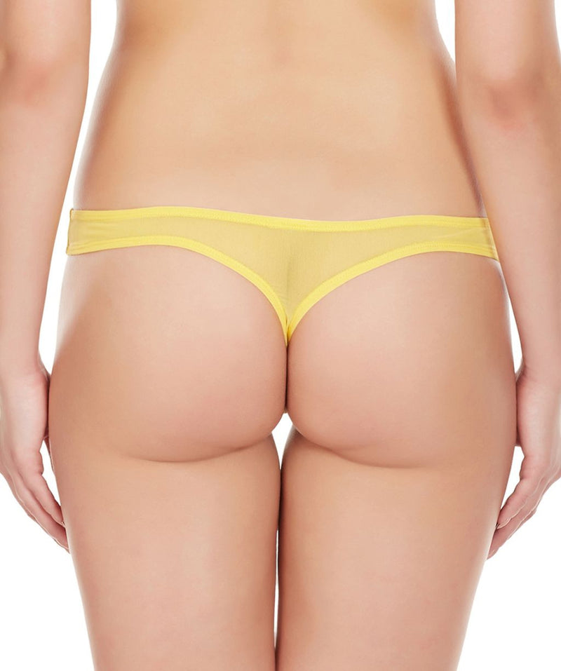 La Intimo Yellow Women Regular Nylon Spandex Thong