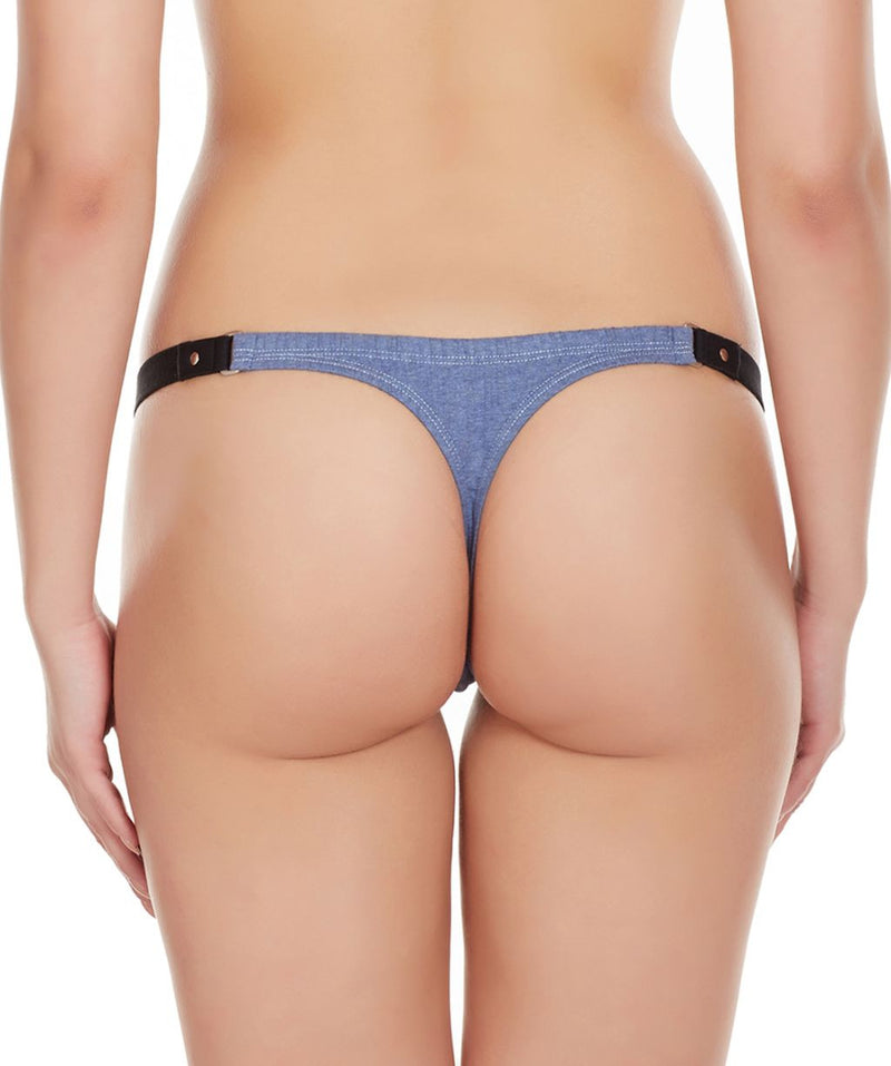 La Intimo Blue Women Minimizer Stylish Designer Cotton Spandex Thongs