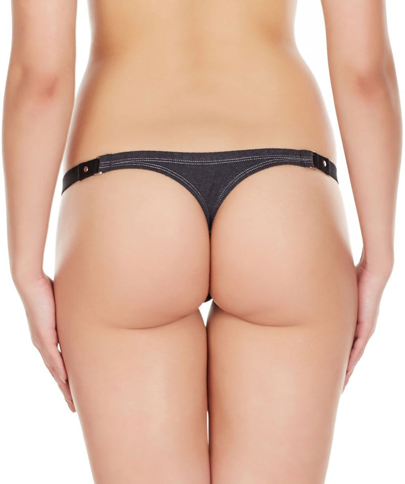 La Intimo Charcoal Women Minimizer Stylish Designer Cotton Spandex Thongs