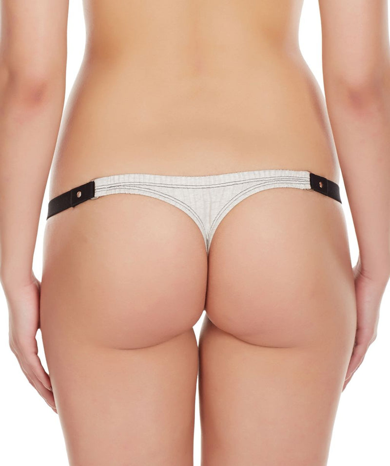 La Intimo Grey Women Minimizer Stylish Designer Cotton Spandex Thongs