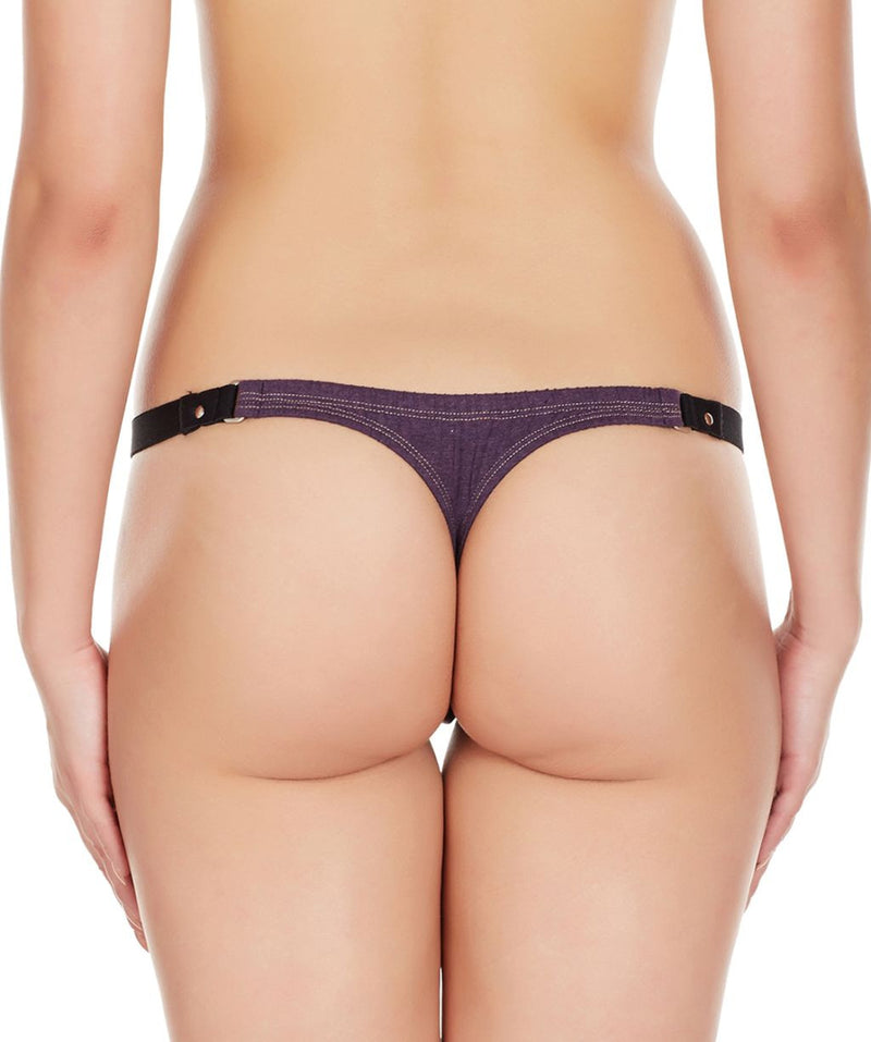 La Intimo Wine Women Minimizer Stylish Designer Cotton Spandex Thongs