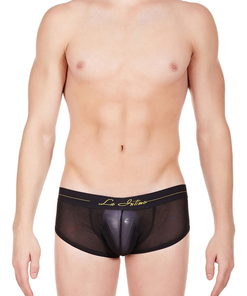 La Intimo Black Men Power Boy Shorts Nylon Spandex Briefs