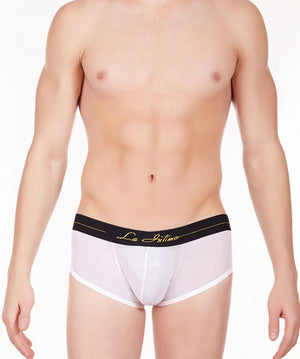 La Intimo White Men Power Boy Shorts Nylon Spandex Briefs