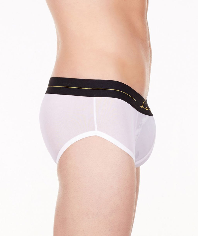 La Intimo White Men Mesh Shorts Nylon Spandex Briefs