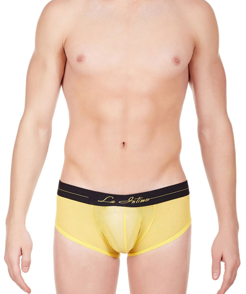 La Intimo Yellow Men Power Boy Shorts Nylon Spandex Briefs