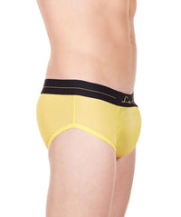 La Intimo Yellow Men Mesh Shorts Nylon Spandex Briefs