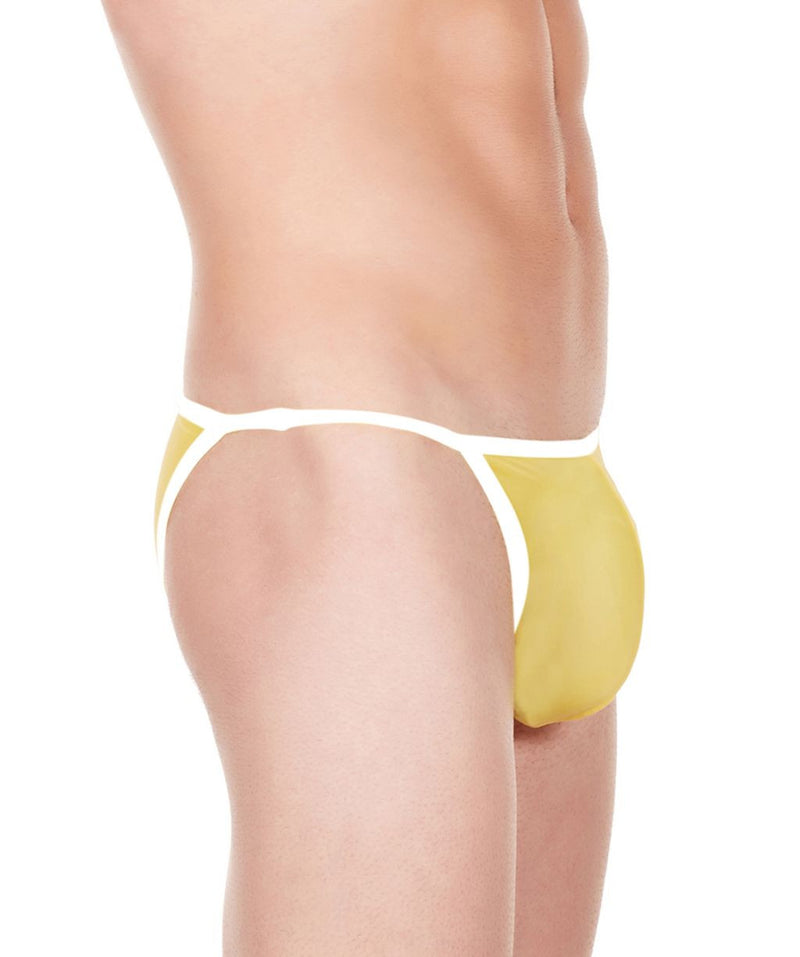 La Intimo Yellow Men String Bikini Nylon Spandex Briefs
