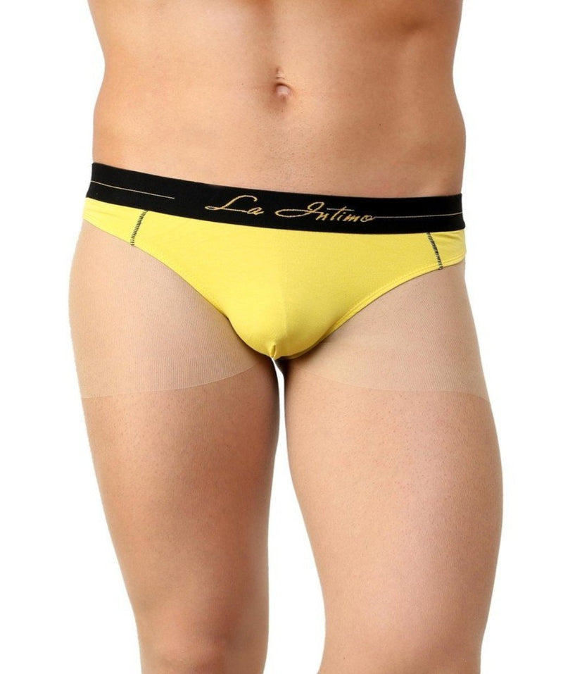 La Intimo Yellow Men Real Feel Thong Cotton Modal Spandex Thong
