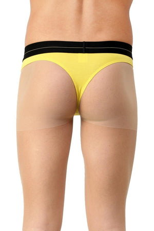 La Intimo Yellow Men Minimizer Cotton Modal Spandex Thong