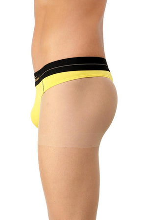 La Intimo Yellow Men Intimate Cotton Modal Spandex Thong