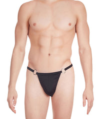 La Intimo Black Men Ring Thong Polyester Spandex Thong