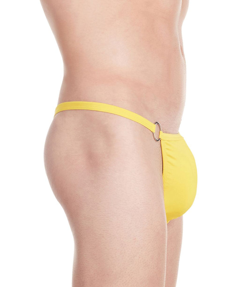 La Intimo Yellow Men Minimizer Thong Polyester Spandex Thong