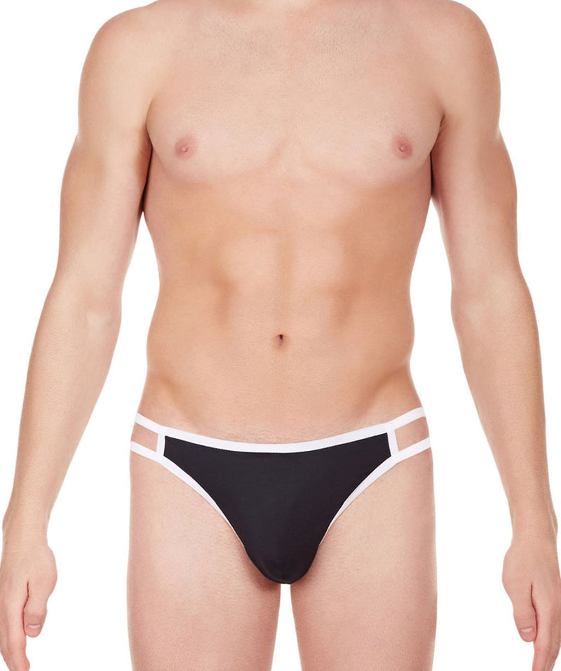 La Intimo Black Men Gusset Thong Nylon Spandex Thong