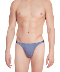 La Intimo Blue Men Tough Guy Thong Cotton Spandex Thongs