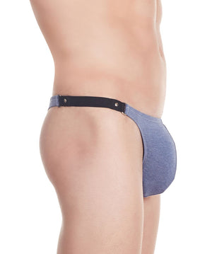 La Intimo Blue Men Ring Denim look Cotton Spandex Thongs
