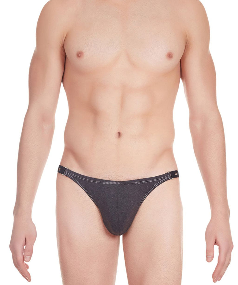 La Intimo Charcoal Men Tough Guy Thong Cotton Spandex Thongs
