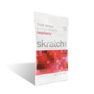 SKRATCH LABS FRUIT DROPS ENERGY CHEWS - RASPBERRY - 10 BAGS CASE
