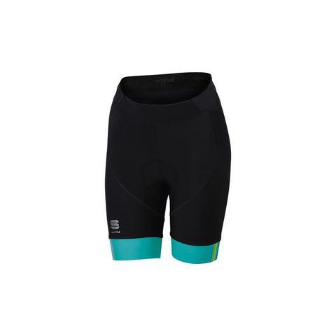 SPORTFUL WOMEN'S BODYFIT PRO W SHORT - BLACK/TURQUOISE