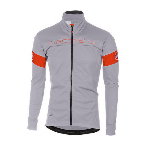 CASTELLI TRANSITION JACKET - LUNA GREY/ORANGE