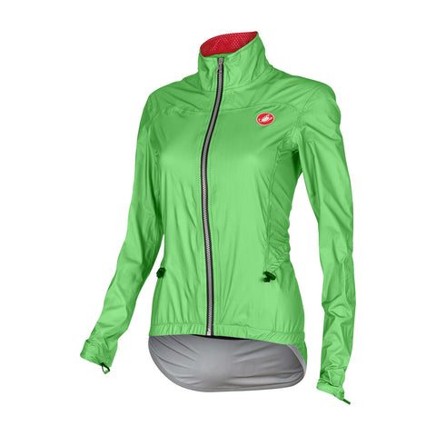 CASTELLI WOMEN'S DONNINA RAIN JACKET - GREEN FLUO