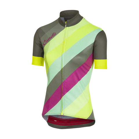CASTELLI WOMEN'S PRISMA JERSEY FZ - MULTICOLOR FOREST GREY