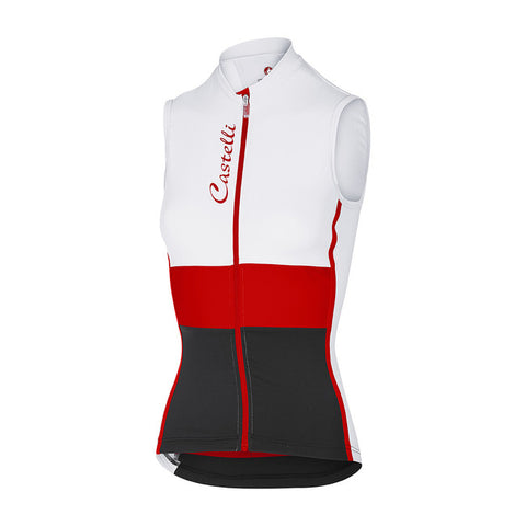 CASTELLI WOMEN'S PROTAGONISTA SLEEVELESS - WHITE/RED