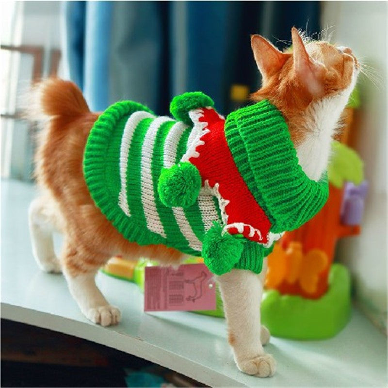 Striped Jingle-bells Cat Costume Green/White