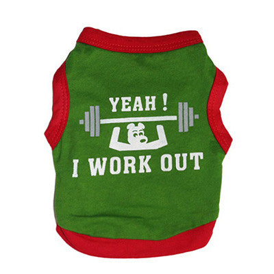 I Work Out Dog Tank Top Green/Red