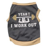 I Work Out Dog Tank Top Tan/Grey