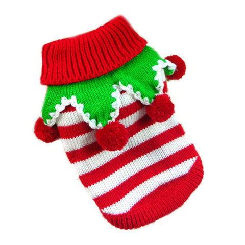 Striped Jingle-bells Cat Costume Red/White