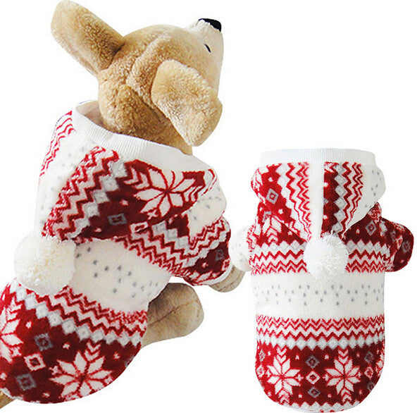 Snowflake Winter Dog Sweater Red