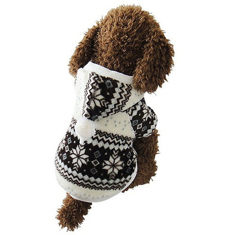 Coffee Snowflake Winter Dog Sweater