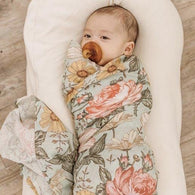 Garden Floral (Sea Foam) - The Mini Scout Swaddles - MilkmaidMumma
