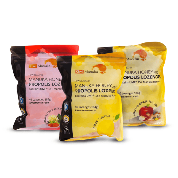 3-in-1 Bundle: New Zealand Manuka Honey UMF® 15+ Propolis Lozenges - Kiwi Manuka - Tiffson