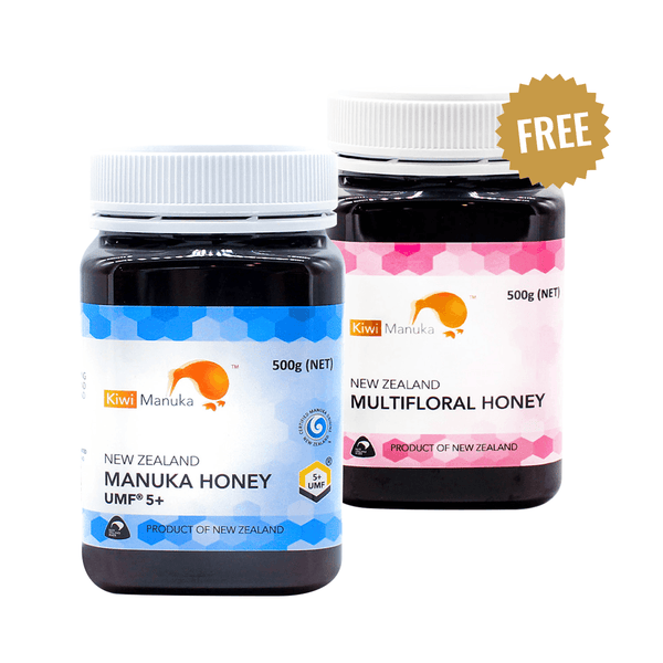 100% NEW ZEALAND MANUKA HONEY UMF® 5+ 500G + FREE Multifloral Honey - Kiwi Manuka - Tiffson