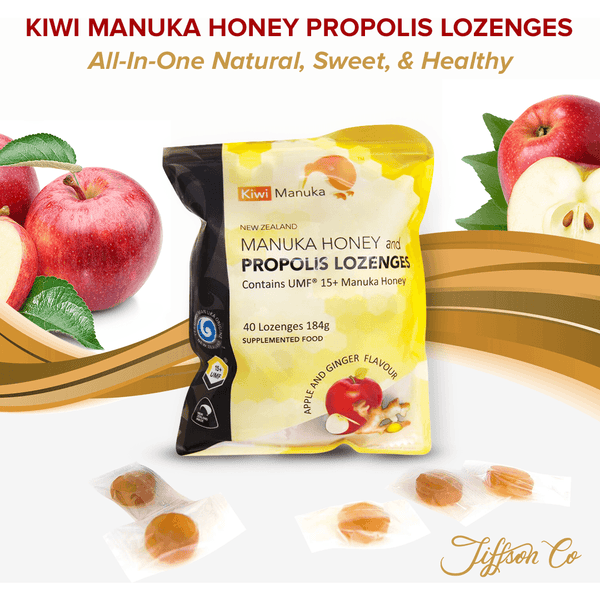 New Zealand Manuka Honey UMF® 15+ Propolis Lozenges - Apple&Ginger