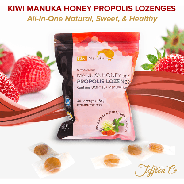 New Zealand Manuka Honey UMF® 15+ Propolis Lozenges - Strawberry - Kiwi Manuka - Tiffson