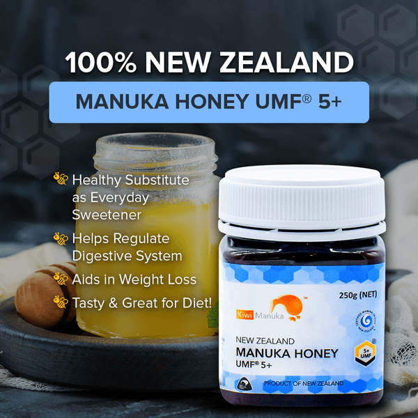 100% NEW ZEALAND MANUKA HONEY UMF® 5+ 250G + FREE 12pc Propolis Lozenge Pack - Kiwi Manuka - Tiffson