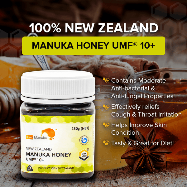 100% NEW ZEALAND MANUKA HONEY UMF® 10+ 250G + 2 FREE 12PC PROPOLIS LOZENGE PACK - Kiwi Manuka - Tiffson