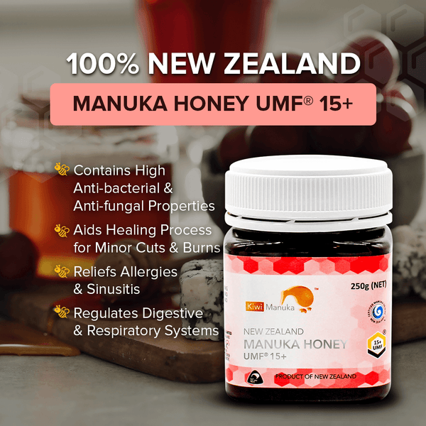100% New Zealand Manuka Honey UMF® 15+ 250g - Kiwi Manuka - Tiffson