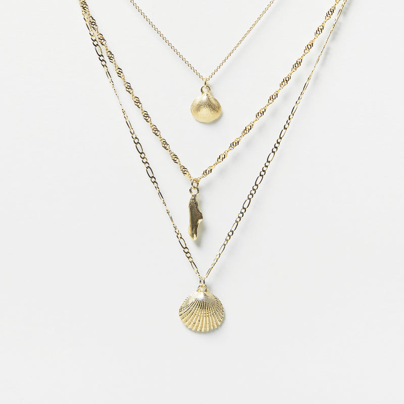 Shell Necklace Combo in Gold