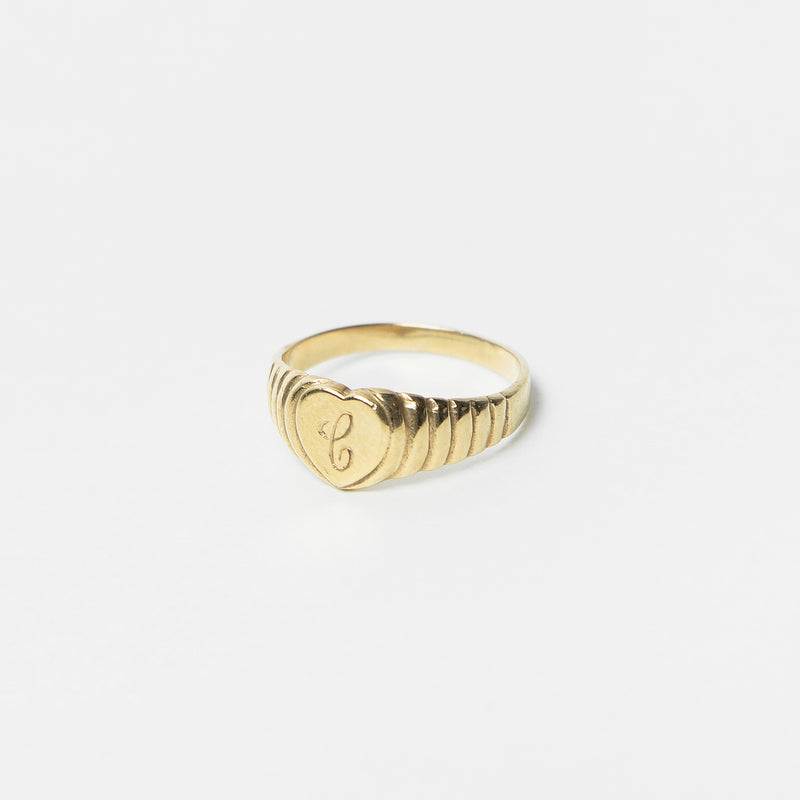 Heart Signet Ring in Solid Gold