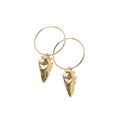 Frida Spearhead Hoops in 14k Gold Vermeil