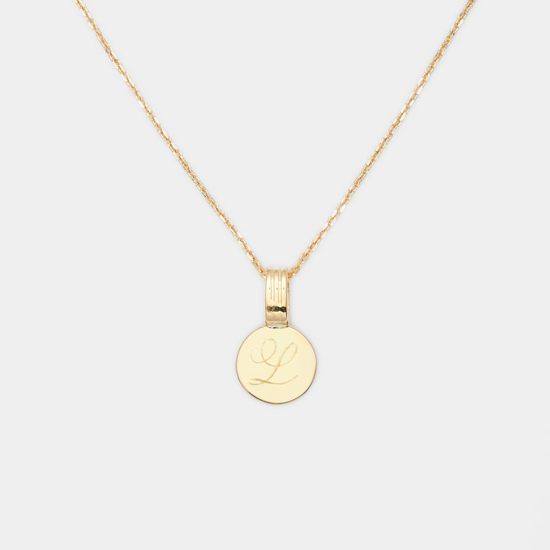 Tiny Joan Initial Medallion in Gold For Her