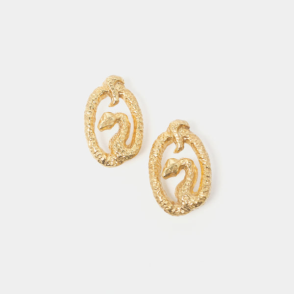 Medusa Earrings in Gold